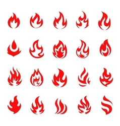 Red fire flame icons and pictograms set isolated vector image vector image