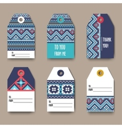 Set of geometric tribal colorful tags with Aztec vector image vector image