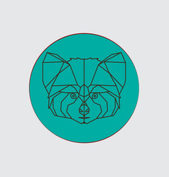 stylized geometric animal head red panda vector image vector image