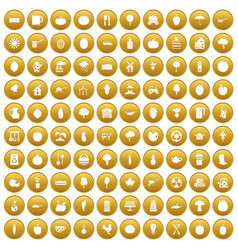 100 health food icons set gold vector