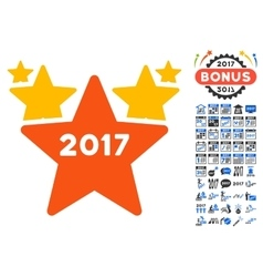 2017 star hit parade icon with 2017 year bonus vector