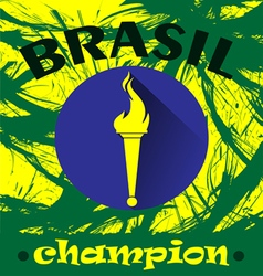Abstract Brazil champion design with burning flame vector image