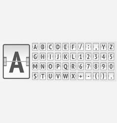 Airport terminal mechanical flip board alphabet to vector