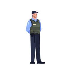 Armed cop semi flat rgb color vector