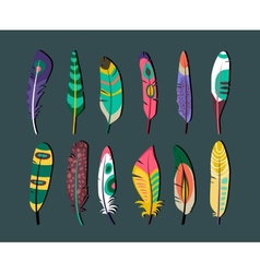 Attractive Feathers Icon Set Designs vector