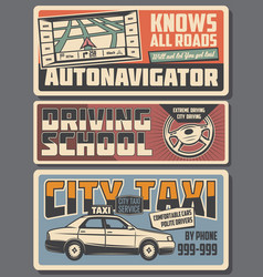 Auto navigator driver school and taxi service vector