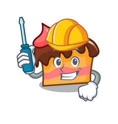 Automotive sponge cake mascot cartoon vector