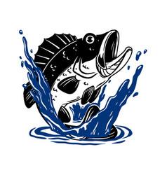 bass fish in water design element for poster card vector image