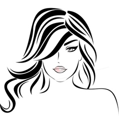 Beautiful girl with wavy hair vector image