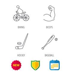 Biking biceps and ice hockey icons vector