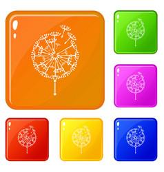 black dandelion icons set color vector image