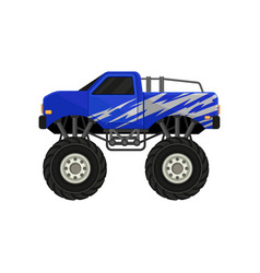 Blue monster pickup truck car with large tires vector