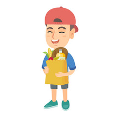 boy holding paper shopping bag full of groceries vector image