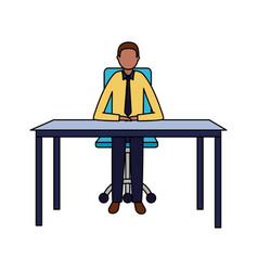 businessman sitting office desk working vector image