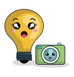 Cartoon bulb camera technology digital design vector