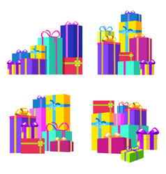 cartoon color pile gift box set vector image