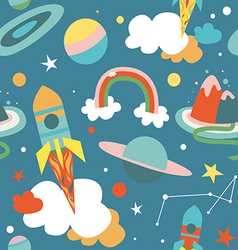 Cartoon cosmos blue seamless pattern vector