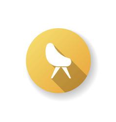 Chair yellow flat design long shadow glyph icon vector