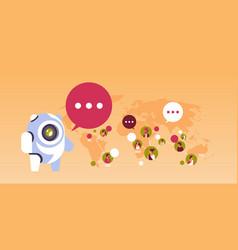 Chatbot robot speech bubble indian people avatar vector
