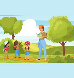 children tourists walk and hike outdoor trekking vector image