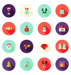 Christmas Circle Flat Icons Set 2 vector image