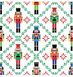 christmas nutcrackers seamless pattern vector image