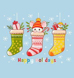 Christmas set with christmas socks vector