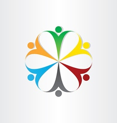 circle icon people teamwork symbol vector image
