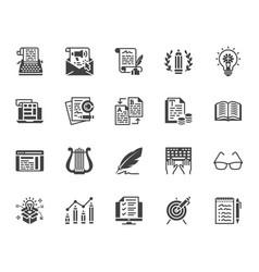 copywriting flat glyph icons set writer typing vector image