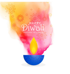 Creative diwali festival background with colors vector