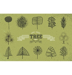 Custom Hand drawn tree icons set vector image