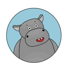 cute cartoon gray hippo is in love avatar vector image