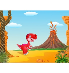 Cute dinosaur mascot with prehistoric background vector