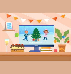 cute little children are recording merry christmas vector image