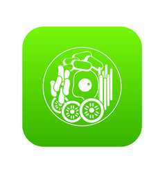 dish of korean food icon digital green vector image