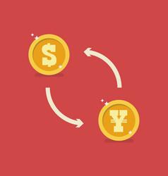 dollar and yen currency exchange vector image
