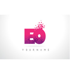 eo e o letter logo with pink purple color and vector image