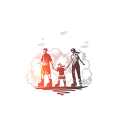 family time active roller together concept vector image