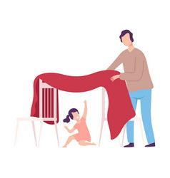 Father and his daughter playing blanket house vector
