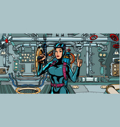 female diver hunter in submarine military vector image