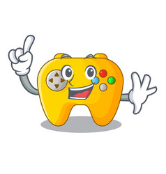 Finger retro computer game control on mascot vector