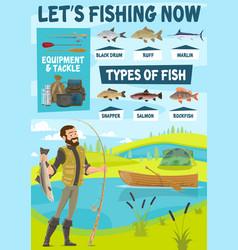 Fishing equipment fisherman and fish vector