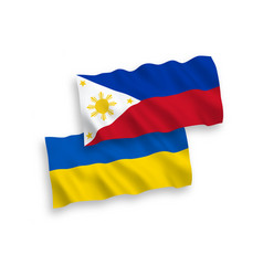 Flags philippines and ukraine on a white vector