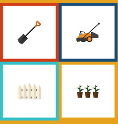 Flat icon garden set of lawn mower wooden barrier vector