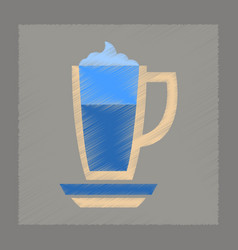flat shading style icon cup coffee latte vector image