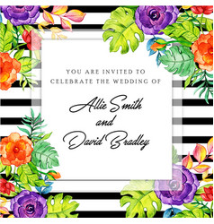 floral black stripe invitation card vector image
