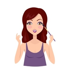 Girl Making Make up with Eyeshadow Brush vector