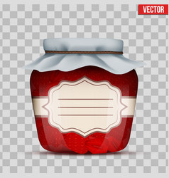 Glass jar with strawberries jam vector