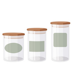 Glass jars with airtight seal wood lids and blank vector