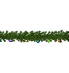 green christmas border of pine branch and ball se vector image